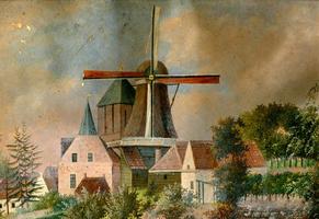 K000324 De korenmolen bij de Hagenpoort en Buitenkerk, de molen van van Raalte brandde op 17 september 1879 tot op de ...