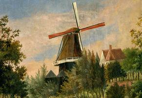 K000361 De korenmolen bij de Hagenpoort en Buitenkerk, de molen van van Raalte brandde op 17 september 1879 tot op de ...