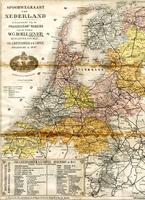 K000355 Spoorwegkaart van Nederland (tussen 1869-1898), behorend bij de Prijscourant - Reisgids van de Firma W.G. Boele ...