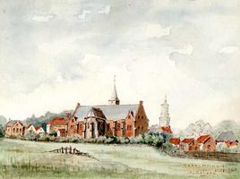 K000068 De Nederlands-hervormde kerk te IJsselmuiden en directe omgeving gezien, getekend en gesigneerd A.J. Reijers, ...