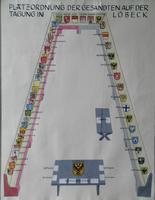 K000117 Platzordnung der Gesandten auf der Tagung in Lübeck met de wapens van de deelnemende Hanzesteden (indeling van ...
