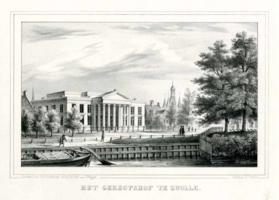 K000044 Het geregtshof te Zwolle, gedrukt bij H.J. Backer, geteekend door F.A.C. Hoffmann (geb. 1822 - overl. 1889) ...