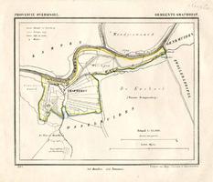 K000613 Kaart van de gemeente Grafhorst en omgeving uit 1865 met vermelding van grootte en aantal inwoners, ...