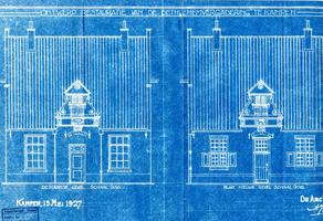 K000193 Ontwerptekening voor de restauratie van de Bethlehemvergadering in de Buitennieuwstraat, links de bestaande ...
