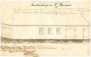 K000536 Touwbaanhuisje van H.J. Buisman tussen de Broeder- en Cellebroederpoort. De teekening is goedgekeurd door ...