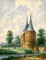 K000595 De Cellebroederspoort met op de voorgrond de rivier de Reve en sluis. Aquarel uit 1866 van Eduard Alexander ...