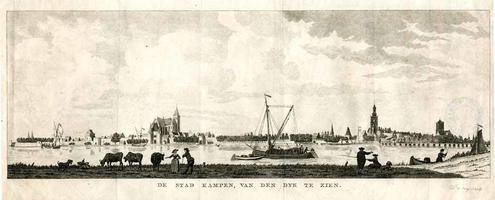 K000598 De stad Kampen, van den dijk te zien. Titel van een kopergravure uit ± 1792, gegraveerd en gesigneerd D. de ...