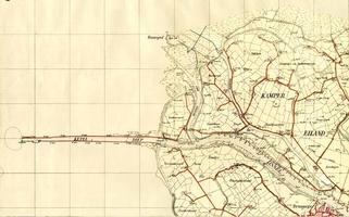 K000031 Topografische kaart van het westelijk deel van het Kampereiland, alsmede het gebied noordwestelijk van Kampen. ...