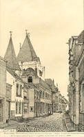 K000157 De Voorstraat met de Koornmarktspoort ter hoogte van de Vergietensteeg, de straat bestaat al sinds 1440 en werd ...
