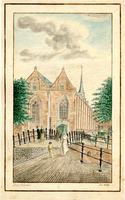 K000570 Gezicht op de Broederbrug en de Broederkerk, een geaquarelleerde tekening van Jac.s Schikkel uit 1809. De ...