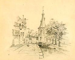K000713 Een potloodtekening van C. Springer van de voormalige Cellespijp in de Cellebroedersweg nabij de ...