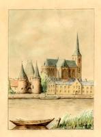 K000633 Gezicht over de IJssel op de Koornmarktpoort en Bovenkerk, een tekening van J.A. van Dijk 1954.