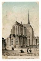 K000638 De St. Nicolaas- of Bovenkerk, een lithografie van Christianus Hendricus Hein (1815 - 1879).