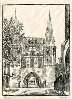 K000627 Stadszijde van de Broederpoort, een tekening op rijstpapier uit ca. 1930.