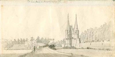 K000608 De Broers poort te Kampen, als titel van deze tekening. Gezicht van het voorliggende bolwerk bij de ...