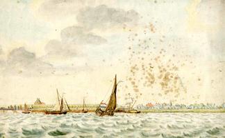 K000141 De IJssel en de IJsseloever en toegang naar het Kikkergat aan de zijde van IJssselmuiden, een geaquarelleerde ...