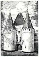 K000625 De oudste stadspoort van Kampen is de Koornmarktspoort, de poort stamt uit de 14e eeuw. Getekend en gesigneerd ...