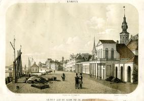 K000715 Gezigt aan de kade bij de IJsselbrug in de periode 1840 - 1860 een lithografie naar een schilderij van J.J. Fels.
