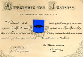 K003578 Handgeschreven document met wapen van Grafhorst uit 1899 waarin de minister van Justitie verklaart dat het ...