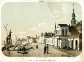 K000573 Gezigt aan de kade bij de IJsselbrug ter hoogte van de huidige Marktgang tussen c. 1840-1859, links de ...
