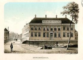 K000572 Infirmerie. Militair hospitaal aan de Vloeddijk op de hoek met de Kalverhekkenweg (c. 1840 en 1879). Gesigneerd ...