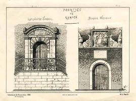 K000529 Twee Poortjes te Kampen, links: trap en toegangsdeur van de Latijnse School, rechts: het poortje van het ...