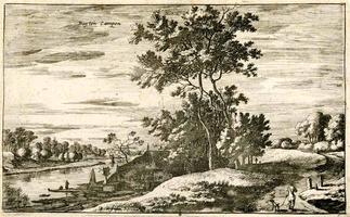 K000577 Buijten Campen, 17e eeuwse kopergravure van een landschap buiten de stadsmuren van Kampen, getekend en ...