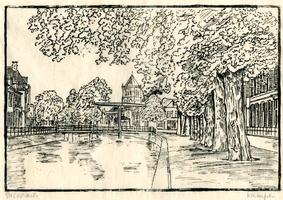 K000644 Tekening van de Burgel en de Burgwal ter hoogte van de Meeuwenbrug, achter de brug is de toren van de ...