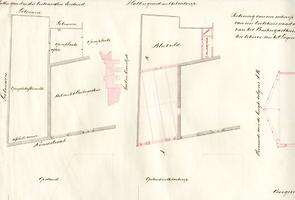 K000288 Teekening van een ontwerp tot aanbouw van een koetshuis naast de stallingen van het Buitengasthuis te kampen ...