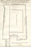 K000187 Teekening van den plattengrond der binnenplaats van het Buitengasthuis te Kampen, waarop is aangetoond het ...