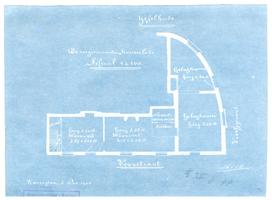 K000527 De zoogenaamde Kaarselade, plattegrond van de woonvertrekken en de gelagkamer in het etablissement De ...