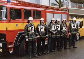 F010691 De brandweer van IJsselmuiden werd in 1985 bij de gewestelijke wedstrijden te Zwolle als tweede gekwalificeerd, ...