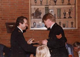 F010697 De brandweer van IJsselmuiden werd in 1985 bij de gewestelijke wedstrijden te Zwolle als tweede gekwalificeerd, ...