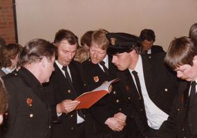 F010698 De brandweer van IJsselmuiden werd in 1985 bij de gewestelijke wedstrijden te Zwolle als tweede gekwalificeerd, ...