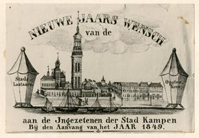 F002768 Nieuwjaarskaart met het opschrift: Nieuwe Jaars Wensch van de Stadslantaarn Opstekers aan de ingezetenen der ...