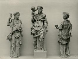 F001657 De drie goddelijke deugden, Fides (Geloof) gesymboliseerd door een vrouw die in haar rechterhand de kelk ...