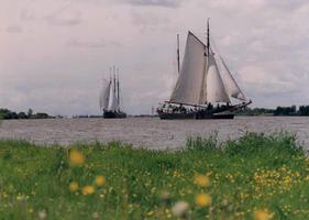 F013211 Zeilschepen van de bruine vloot varen op de IJssel. Hier met witte zeilen. Vroeger waren ze overwegend bruin..