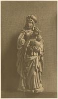 F001811 St. Anna ter Drieën, eikenhouten heiligenbeeld van St. Anna met haar dochter Maria en het kindeke ...