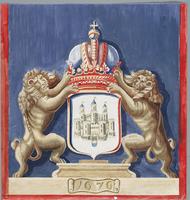 K001217 Patroon van de kussens in de Schepenzaal van het Oude Raadhuis.