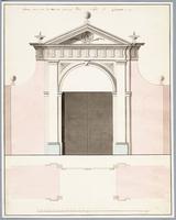 K001267 Tekening van de in den jare 1803 nieuw gebouwde Vhenepoort te Campen, bestaande uit opstand en plattegrond.