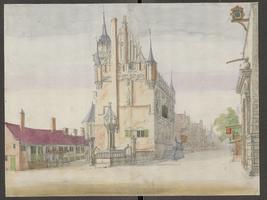 K000109 Gezicht op de noordgevel van het oude Raadhuis, uiterst rechts de doorgang onder de Nieuwe Toren, getekend door ...