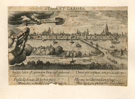 K000672 Ora et labora Campen. Kampen gezien vanaf de oostelijke IJsseloever ter hoogte van de IJsselbrug in ...