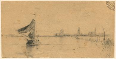 K000657 Potloodtekening van een zeilschip op de IJssel met de stad Kampen op de achtergrond. De tekening is getekend ...