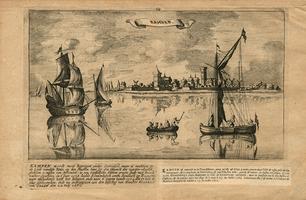 K000639 Kampen, gezien vanaf de oostelijke IJsseloever. De gravure is getekend door Jan Peeter en gegraveerd door ...