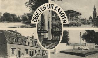 F000069-1 Verzamelkaart met een 5-tal afbeeldingen, l.b. Plantsoen; r.b. Nieuwe Markt; l.o. Proveniershuisjes van de ...