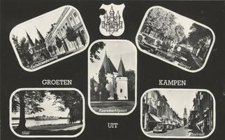 F000072-2 Verzamelkaart (Groeten uit Kampen) met l.b. Cellebroedersweg; r.b. Oorgat; l.o. IJssel; r.o. Oudestraat; m. ...