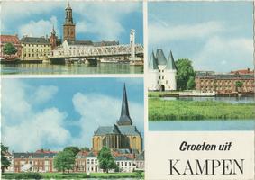 F000076-1 Verzamelkaart (Groeten uit Kampen) r.b.IJsselbrug en Nieuwe Toren; l.o. De la Sablonierekade met de ...