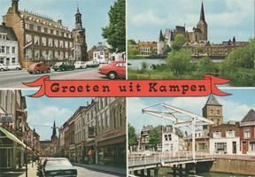 F000077-2 Verzamelkaart (Groeten uit Kampen) l.b. Stadsherberg; r.b. Koornmarktspoort en de Bovenkerk; l.o. Oudestraat ...