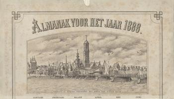 F000080 Titel van de afbeelding Gezicht op Kampen , een Illustratie uit de Almanak voor het jaar 1888.