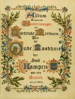 F005422 Eerste bladzijde uit het Album, bevattende handtekeningen van vorstelijkepersonen die het Oude Raadhuis der ...